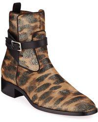 Christian Louboutin Men's Kicko Leopard-print Red Sole Boots - Metallic