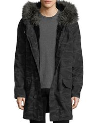Yves Salomon - Classic Long Camo Coat W/fur Trim - Lyst