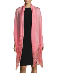 Valentino - Painted Lace Plisse Shawl - Lyst