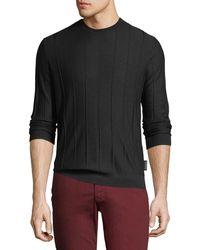 Emporio Armani - Men's Crewneck Long-sleeve Vertical Tonal-stitch Wool Sweater - Lyst