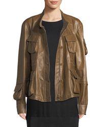 Urban Zen - Button-down Lamb Leather Anorak Jacket - Lyst