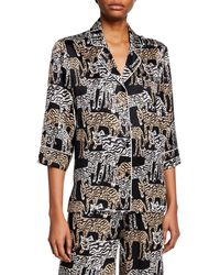 Prabal Gurung Tiger-print 1/2-sleeve Pajama Top - Black