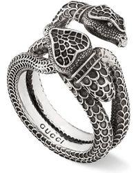 Gucci - Men's Engraved Snake Ring - Lyst