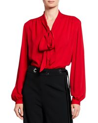 6938daffc Gucci Tie Neck Ruffle Detail Silk Blouse in Pink - Lyst