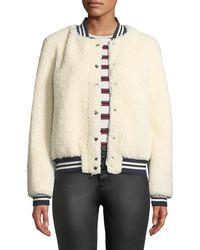 Belle Fare - Lamb Fur & Contrast Baseball Jacket - Lyst