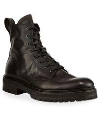 John Varvatos Men's Union Leather Combat Boots - Black