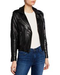 Nour Hammour Vinyl Lace-up Leather Moto Jacket - Black