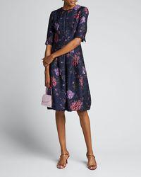 Teri Jon Metallic Floral Jacquard Elbow-sleeve A-line Dress - Blue