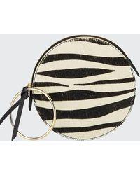 Sara Battaglia Zebra Plisse Wallet Bracelet Clutch Bag - Black