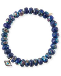 Sydney Evan - 14k Lapis Bead & Turquoise Eye Bracelet - Lyst