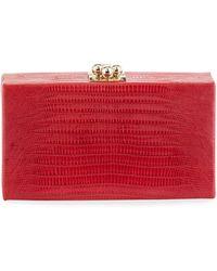 Edie Parker Jean Shiny Lizard Box Clutch Bag - Red