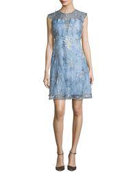 Elie Tahari - Olive Floral-appliqué Linen Dress - Lyst
