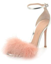 fe5f7476793 Gianvito Rossi - Marabou Metallic Feather Sandals - Lyst