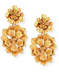 Oscar de la Renta - Blooming Bold Flower Drop Clip Earrings - Lyst