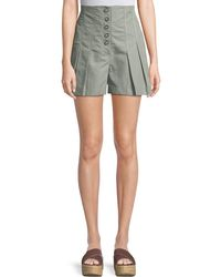 Rebecca Taylor - Pleated High-waist Button-up Shorts - Lyst