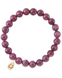 Sydney Evan - 10mm Natural Ruby Beaded Bracelet With 14k Gold/diamond Medium Ladybug Charm - Lyst