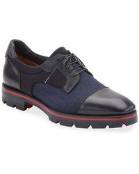 Christian Louboutin Men's Mika Sky Fabric/leather Lug-sole Derby Shoes - Blue