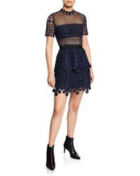 04dd0239a3a5 Self-Portrait Lace Dress in Blue - Save 30% - Lyst