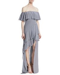 Halston - Off-the-shoulder Striped Flounce Gown - Lyst