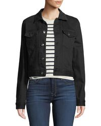 7 For All Mankind - Cropped Denim Jacket With Beaded Fringe - Lyst