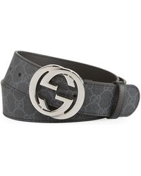 d9cfcfd05c752 Lyst - Gucci Gg Supreme Belt With G Buckle Blue in Blue