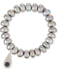 Sydney Evan | 10mm Pearl Bracelet With Teardrop Eye Charm | Lyst