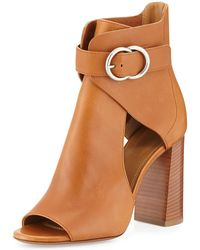 Chloé Millie Open-toe Leather Bootie - Brown