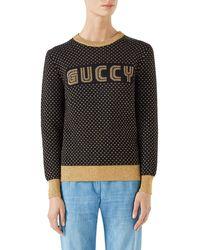 Gucci - Long-sleeve Crewneck Lurex® Wool Guccy Sega Sweater - Lyst