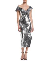 Monique Lhuillier - Illusion-neck Slim Tea-length Cocktail Dress W/asymmetric Ruffle Detail - Lyst