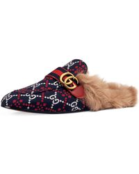 7ac560c948c Lyst - Gucci Princetown Dragon Jacquard   Fur Slippers in Green for Men