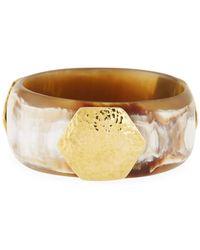 Ashley Pittman - Horn Bangle Bracelet W/ Hammered Logo Plate - Lyst