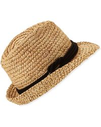 Tracy Watts Hitch Crochet Raffia Fedora Hat - Natural