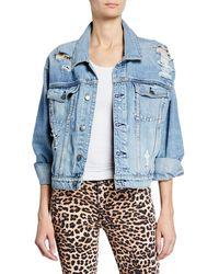 Hudson Jeans - Reinvented Distressed Denim Trucker Jacket - Lyst