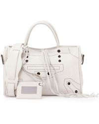 Balenciaga Blackout City Small Tote Bag - White