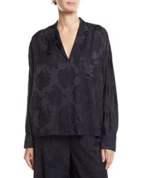 Vince Floral Jacquard Pyjama Popover Top - Blue