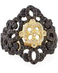 Armenta - Old World Filigree Ring With White Diamonds & Black Sapphires - Lyst