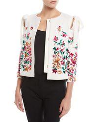 Oscar de la Renta - Floral-embroidered Bow-shoulder Short Jacket - Lyst