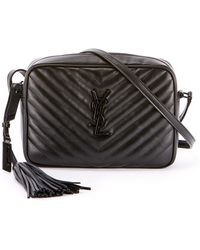 2b510504fe Saint Laurent - Loulou Monogram Ysl Medium Chevron Quilted Leather Camera Shoulder  Bag - Black Hardware