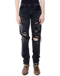 Amiri Men's Destroyed Slouch Denim Jeans - Black