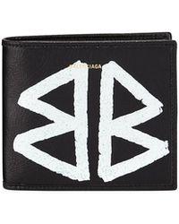 Balenciaga - Men's Bazar Graffiti Bi-fold Leather Wallet - Lyst