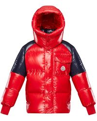 Moncler Boy's Sigean Colorblock Puffer Coat - Red