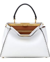 Fendi Peekaboo Medium Tricolor Leather Satchel Bag - White