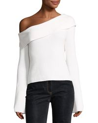 Theory - One-shoulder Fold-over Long-sleeve Ribbed Sweater - Lyst