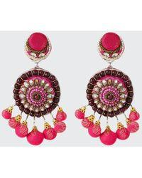 Ranjana Khan Beaded Circle Clip-on Earrings W/ Mini Poms - Multicolour