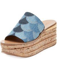 Chloé - Camille Patchwork Denim Wedge Slide Sandal - Lyst