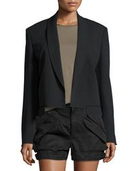 Helmut Lang Ribbed Shawl-collar Cropped Jacket - Black