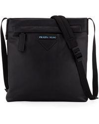 Prada - Men's Large Smooth Leather Crossbody Bag - Lyst