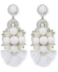 Ranjana Khan Sabine Long Clip-on Earrings - White