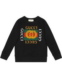 9215c2ad250 Gucci Bee Print Hooded Sweatshirt in Black for Men - Lyst