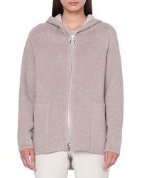 Akris Vanda Reversible Zip-front Wool-cashmere Hoodie - Natural